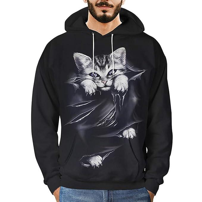 Redshop Pullover for Men Hoodie Mens 3D Printed Cat Pullover Long Sleeve Hooded Sweatshirt Tops Black