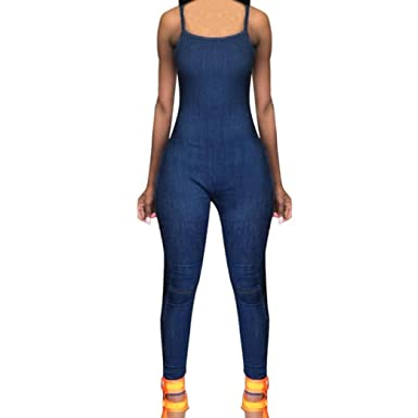 5c1b6829ef0 Amazon.com  RAISINGTOP Women Jumpsuit Denim Sexy Romper Outfits Jeans  Overalls Long Pants Halter Zipper Slim Lounge Skinny Trousers  Clothing