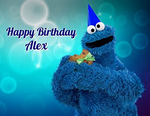 Sesame Street Cookie Monster Edible Image Photo Cake Topper Sheet Personalized Custom Customized Birthday - 1/4 Sheet - 78073 (Edible Photo Cookies)