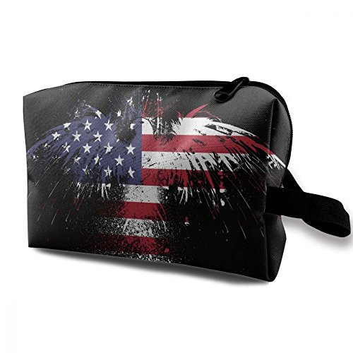 ZHIYANG Flag Of America Eagle Elegant Potable Cosmetic Bags With Zipper For Travel Home Jewelry Pouch Storage Bags Makeup Bags -