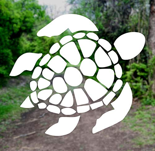 Sea Turtle [Pick Any Color] Vinyl Transfer Sticker Decal for Laptop/Car/Truck/Window/Bumper (3in x 2.7in (Laptop Size), White)
