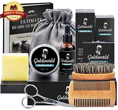Beard Care & Grooming Kit w/Free Beard Soap, w/Unscented Beard Oil,Beard Balm,Beard Comb,Beard Brush,Beard Scissors,Storage Bag for Beard Care Growth by GoldWorld
