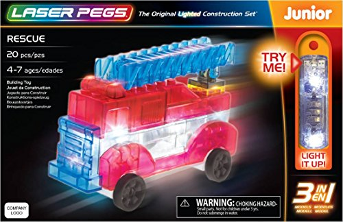 Laser Pegs Rescue 3-In-1 Building Set Building Kit; The First Lighted Construction Toy to Ignite Your Child's Creativity; It's Your Imagination, Light It Up