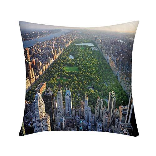 HooMore Luxury Custom Art Design Photos Throw Pillow Central Park Aerial View Manhattan New York Design for Sofa Bedroom Office Car Decorate Pillow