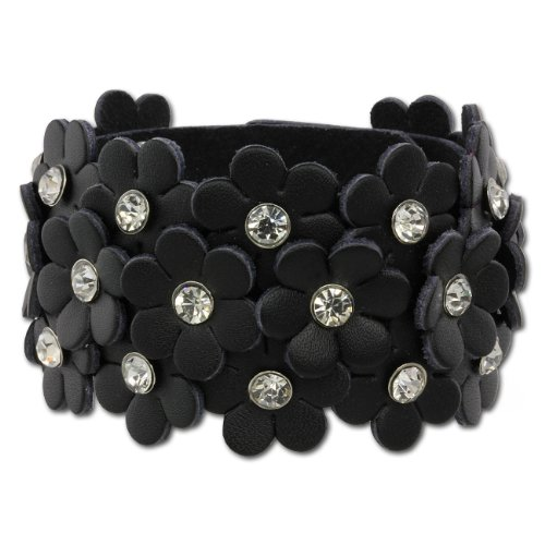 - SilberDream leather bracelet glitter-flowers black with white zirconia and snap closure, women genuine leather LA5668S