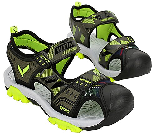 VECJUNIA Boys Adventurous Closed Toe Hook-and-Loop Sport Sandals Olive 5 M US Big Kid by VECJUNIA (Image #4)