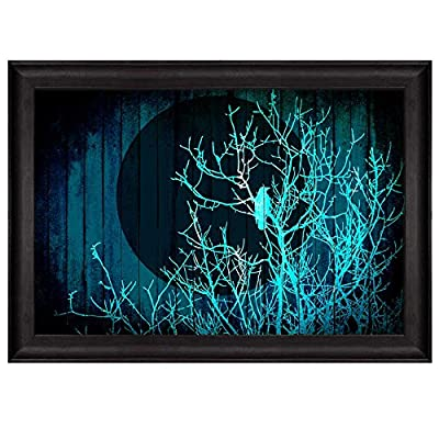 Delightful Artistry, Illustration of The Blue Silhouette of a Tree with a Crow Under The Moonlight Over Teal Wooden Panels Nature Framed Art, Classic Artwork