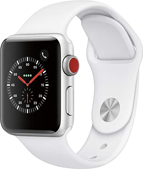 Amazon Com Apple Watch Series 3 Gps Cellular 38mm Silver Aluminum Case With White Sport Band Renewed