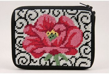 - Coin Purse - Poppy On Scroll - Needlepoint Kit