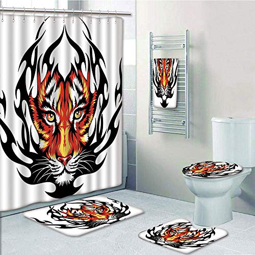 (Bathroom 5 Piece Set Shower Curtain 3D Print,Tattoo Decor,Jungles Prince Tigers Head in Black Flames Frame Looking with Cat Eyes,Black and Orange,Bath Mat,Bathroom Carpet Rug,Non-Slip,Bath)