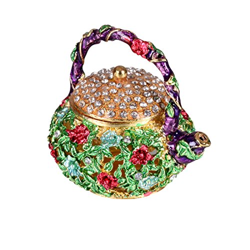 MICG Retro Mini Teapot Trinket Box Wedding Ring Holder Fi...