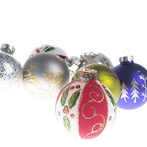Decorated Glass Ball Ornaments - Factory Direct Craft Package of 36 Vintage Hand Decorated Glass Ball Ornaments for Tree Trim, Package Embellishments and Displaying