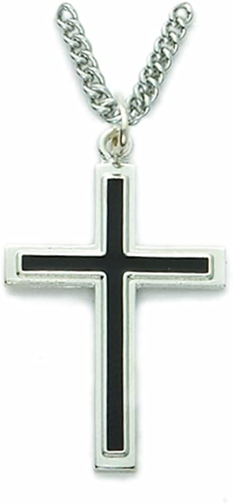 Black Enamel Sterling Silver Cross