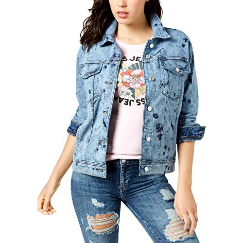 (GUESS Womens Spring Printed Denim Jacket Blue L)