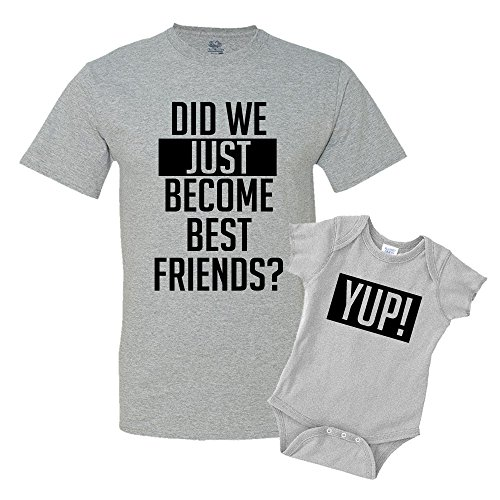 Did We Just Become Best Friends Dad and Baby Matching Shirt Set Athletic Heather