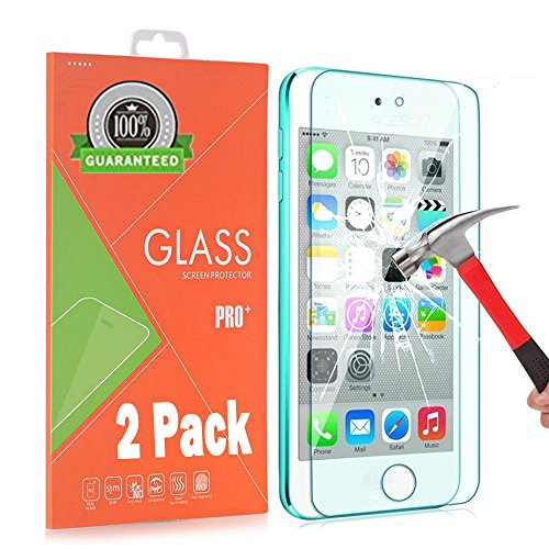 AOKER iPod Touch 6 Screen Protector, [2Pack] [Anti-scratch] 0.2mm 9H Hardness High Definition Premium Tempered Glass for Apple iPod Touch 6th, 5th Generation With Lifetime Replacement Warranty - Touch Lifeproof Case Ipod For