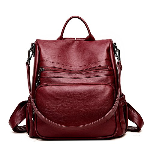 DSLONG Women Backpack Purse Bag Travel Anti-theft Leather Purse and Handbags (wine Red) by Guangkuo