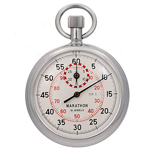 Marathon ST211003 Mechanical Stopwatch. Single Action Wind Up (Dual 1/5th sec. & 1/100th min. Graduations). Commercial Grade. (Stopwatch Handheld)