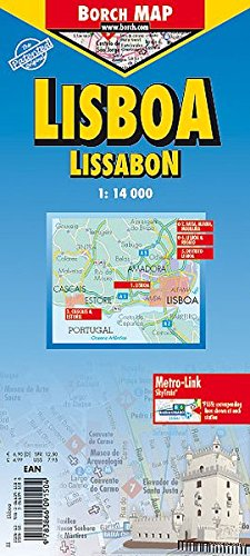 Laminated Lisbon City Streets Map by Borch