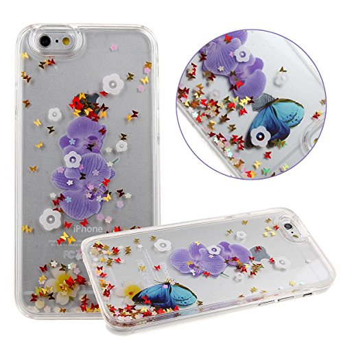 NSSTAR iPhone 6 Case,Shiny Case for iPhone 6,Case for iPhone 6,Case for iPhone 6(4.7),Hard Case for iPhone 6,Creative Design Flowing Liquid Bling Glitter Flower Butterfly Series Star Hard Case for Apple iPhone 6 with 4.7 inch Screen (Flower #2)