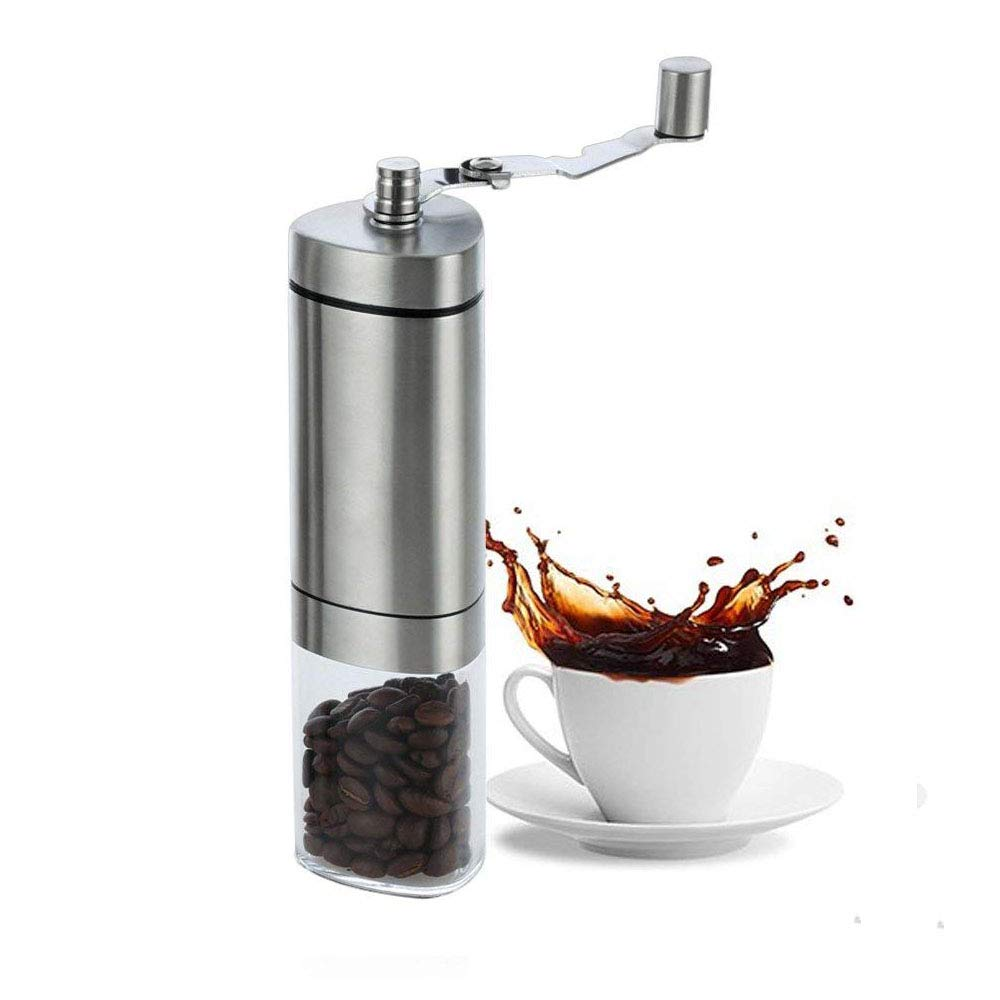AmazeFan Manual Coffee Grinder, Stainless Steel,Hand Mill Adjustable Ceramic Conical Burr Mill with Antislip Triangle Pole Design and Foldable Handle Convenient to Carry Lifetime Full REFUND NbTech Coffee-G1