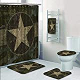 Philip-home 5 Piece Banded Shower Curtain Set Old Green Military Jeep Vintage Style Pattern Adornment
