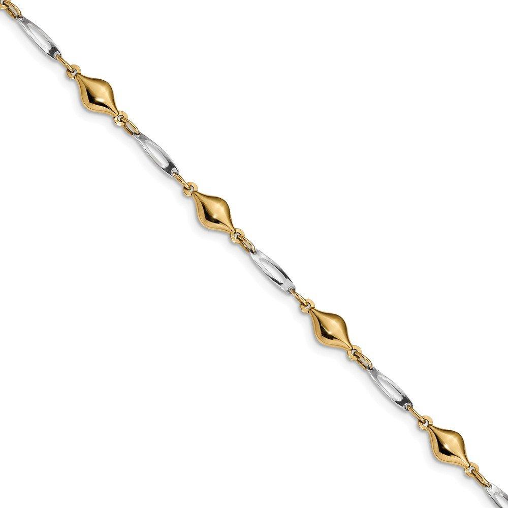 Diamond2Deal 14k Gold Two-tone Fancy Bracelet 7.5inch