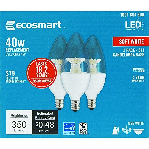 Pc 2700 Lp - EcoSmart 40W Equivalent Soft White Clear LED Light Bulbs B11 Candelabra Base (3-Pack)