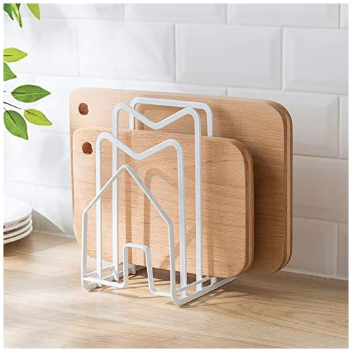 Kitchen Poeland Kitchen Pantry Organizer Rack for Dinnerware, Bakeware, Cookware, Cutting Boards, Pan Lids pot lid holders