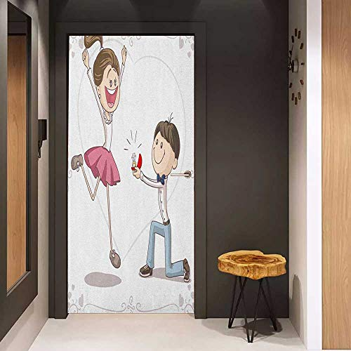 Onefzc Front Door Sticker Engagement Party Celebration Cartoon of Love Valentines Couple with Wedding Ring for Home Decor W31 x H79 Pink Blue and White (Wedding Skyrim Ring)