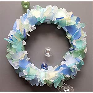"Beach Decor Sea Glass Wreath - Nautical Beach Glass Wreath in Any GORGEOUS COLOR - 12"" 46"