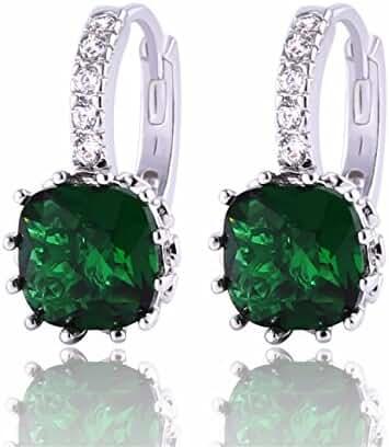 GULICX Women's Jewelry Emerald Color Green Cubic Zirconia Huggy Huggie Hoop Earrings Pierced