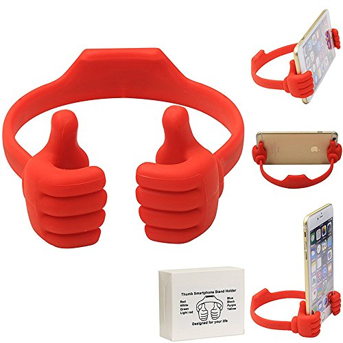Cell Phone Tablet Holder, VPR Thumbs Up Cute TPU Plastic Universal Flexible Phone Tablet Bed Desk Stand for Kitchen, Office, Bedroom, for iPad Mini 4 3 2 iPhone 7 6S Plus Samsung 7 S6 Edge (Red) (Quad Lock Iphone 5s compare prices)