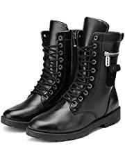 HobbyAnt Men's Motorcycle Leather Boots Punk Studded Zipper Tactical Combat Mid Calf Military Shoes - Size 40