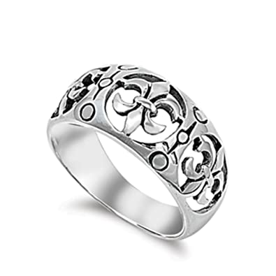 Bague En Argent Fin Fleur De Lys Royal Design Amazon Fr Bijoux