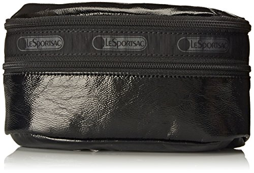 LeSportsac Double Zip Belt Waist Pack, Black Crinkle Patent, One Size