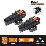 Veetop Bluetooth Motorcycle Helmet Headset Intercom, 1000M Water Resistant 2 or 3 Riders Bluetooth Motorcycle Motorbike Communication System for GPS/Walkie-Talkie, Hands Free & FM Radio(2 Pack)