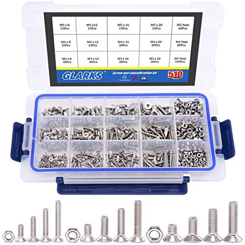 - Glarks 510Pcs Metric M3 M4 M5 304 Stainless Steel Flat Head Countersunk Socket Cap Bolts Screws Nuts Assortment Kit, Allen Hex Drive