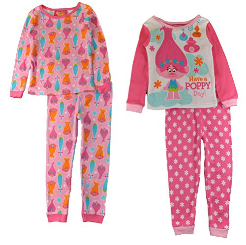 Price comparison product image Trolls Toddler Girls 4 pc Pajama Set Sleepwear - Have A Poppy Day (4t)