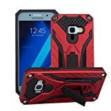 Samsung Galaxy S7 Edge Phone Case MUTOUREN [Heavy Duty Tough Armor] [Extreme Protection] Case With Kickstand [Good Grip] Shock Absorbing Impact Defender Plastic Outer & Rubber Silicone Inner Detachable 2 in 1 Stand Case Cover Red