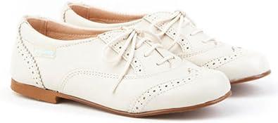 Zapato Blucher de niño de Piel Beige. Marca AngelitoS. Modelo 1394. Calzado Infantil Hecho en España. Número 34: Amazon.es: Zapatos y complementos