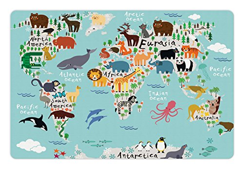 Lunarable Africa Pet Mats for Food and Water, Educational World Map Africa Camel America Lama Alligator Ocean Australia Koala, Rectangle Non-Slip Rubber Mat for Dogs and Cats, Multicolor