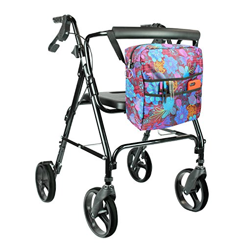 Rollator Bag by Vive - Universal Travel Tote for Carrying Accessories on Wheelchair, Rollator, Rolling Walkers & Transport Chairs - Lightweight Handicap Medical Mobility Aid, Purple Floral by VIVE