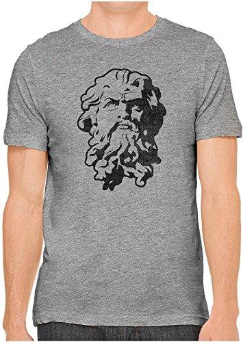 Unisex Mens Greek God Statue Stencil Hand Screen Printed Fitted Cotton T-Shirt, Heather Grey, Medium -