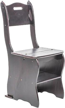 LAXF- Sillas Escalera Plegable Madera Silla Plegable Multifuncional de Madera Maciza de 4 Capas para Adultos Muebles para Sala de Estar de la Cocina Dormitorio Baño (Color : Deep Walnut Color): Amazon.es: