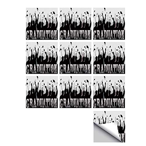 - C COABALLA Graduation Decor Stylish Ceramic Tile Stickers 10 Pieces,Academy Celebration Party Student Silhouettes Happy Grads Caps Off Decorative for Kitchen Living Room,7