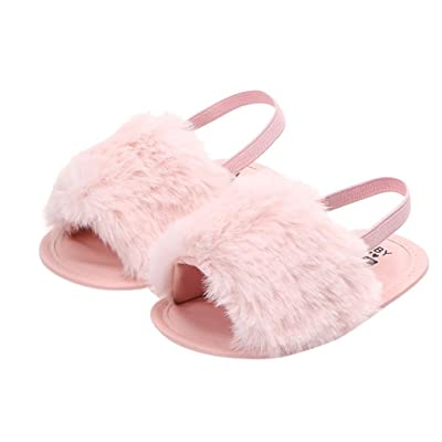AutumnFall Newborn Infant Baby Boys Girls Letter Flock Soft Sandals Slipper Casual Shoes First Walkers (Age:3-6M, Pink): Office Products