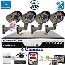 Evertech 8 CH Channel HD H.264 DVR 4X HD ( AHD TVI CVI ANALOG ) 960P Day Night Night Vision Manual Zoom HD Bullet CCTV Home Security Camera System Set w/ 1TB HDD