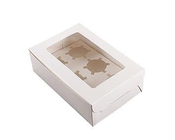 Caja para cupcakes Vipith, con 6 agujeros, de color blanco, con tapa transparente