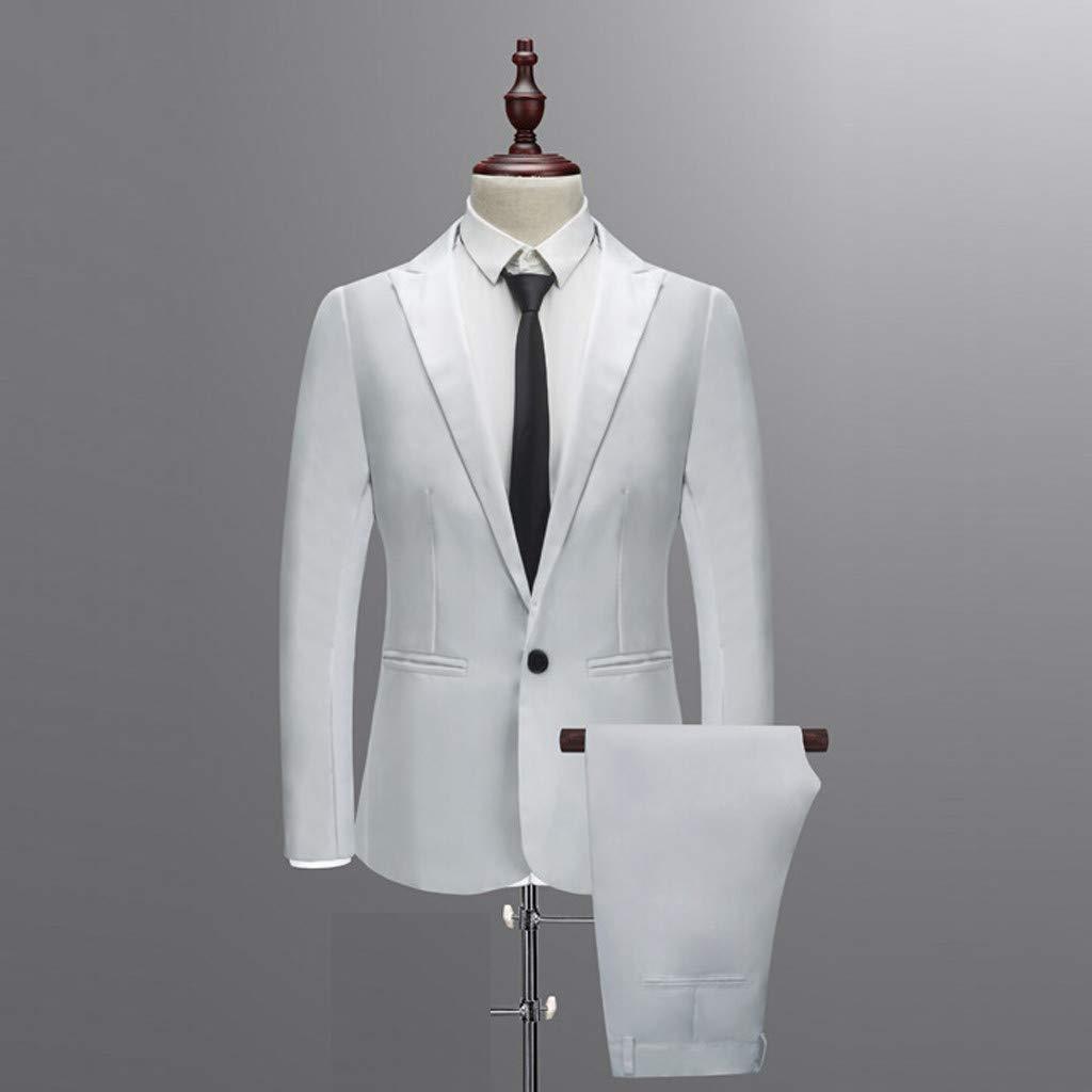 Blazer Uomo Due Pezzi Set Giacche con Un Bottoni Mambain Abiti Uomo Completo Pantaloni Slim Fit Abiti Uomo Elegante Classico per Festa Cerimonia Matrimonio Affari